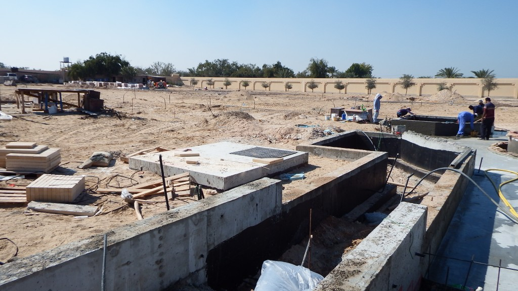 Construction of main water feature at Farm Villa, Al Rahba, Abu Dhabi
