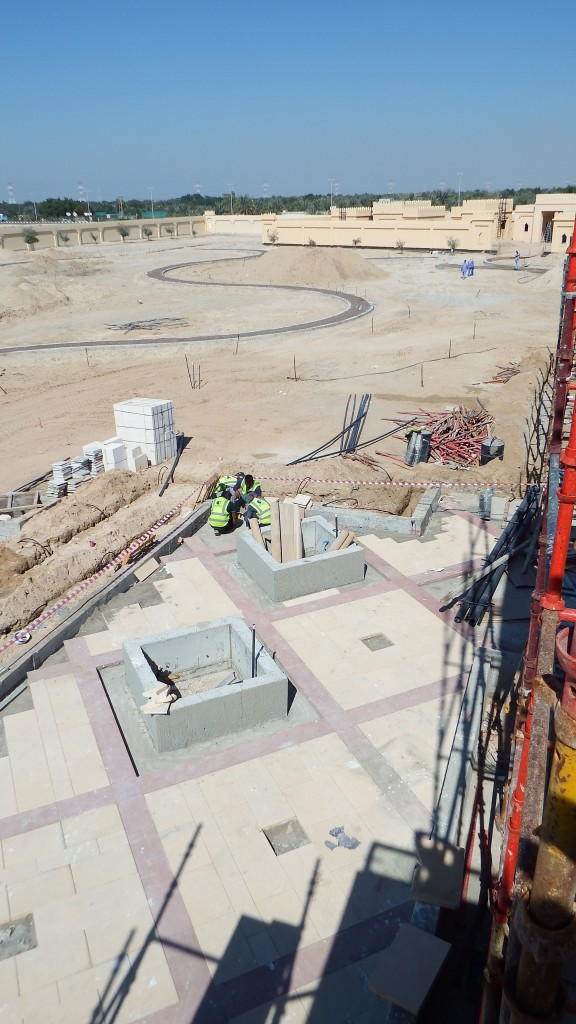 Hard Landscape works under construction at Farm Villa, Al Rahba, Abu Dhabi