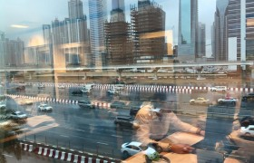Sheikh Zayed Road from our office during January's thunderstorm